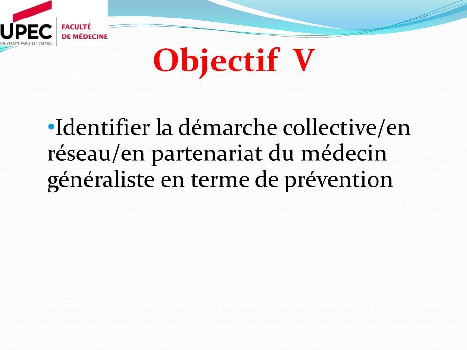 Objectif V Identifier la démarche collective/en réseau/en partenariat du médecin généraliste en terme de prévention.