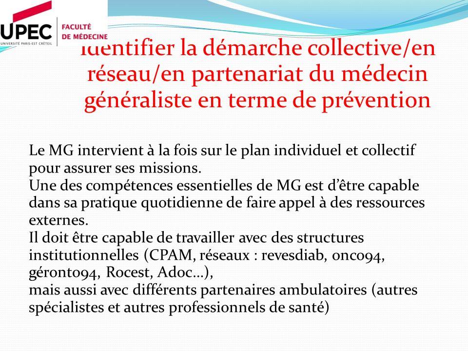 Identifier la démarche collective/en réseau/en partenariat du médecin généraliste en terme de prévention