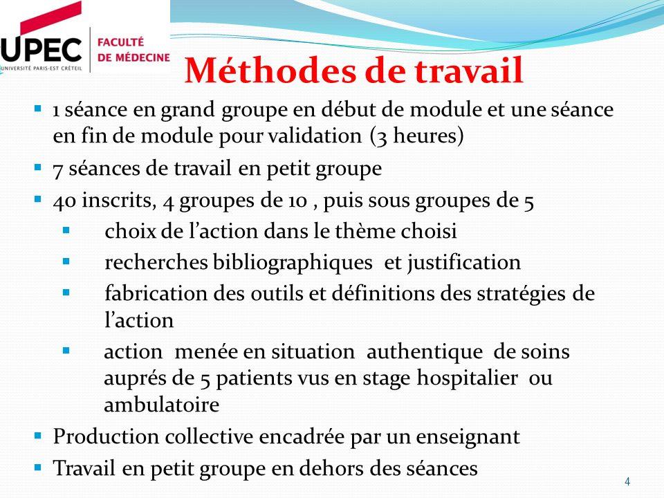 Méthodes de travail 1 séance en grand groupe en début de module et une séance en fin de module pour validation (3 heures)