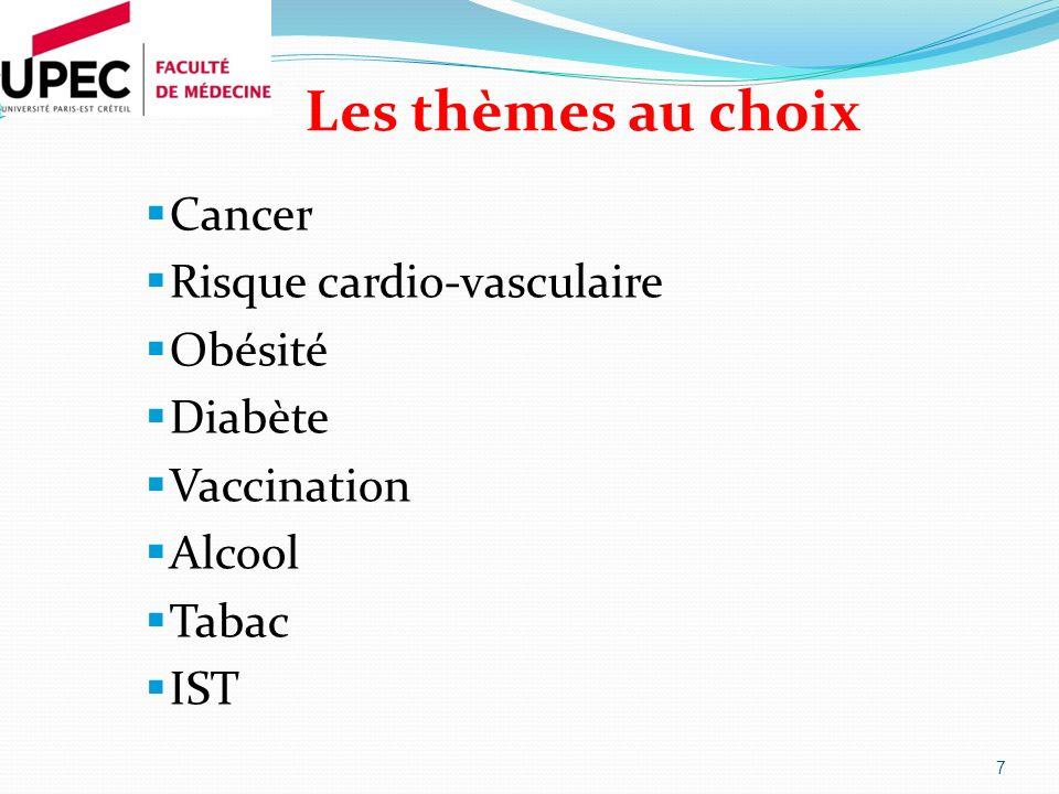 Les thèmes au choix Cancer Risque cardio-vasculaire Obésité Diabète