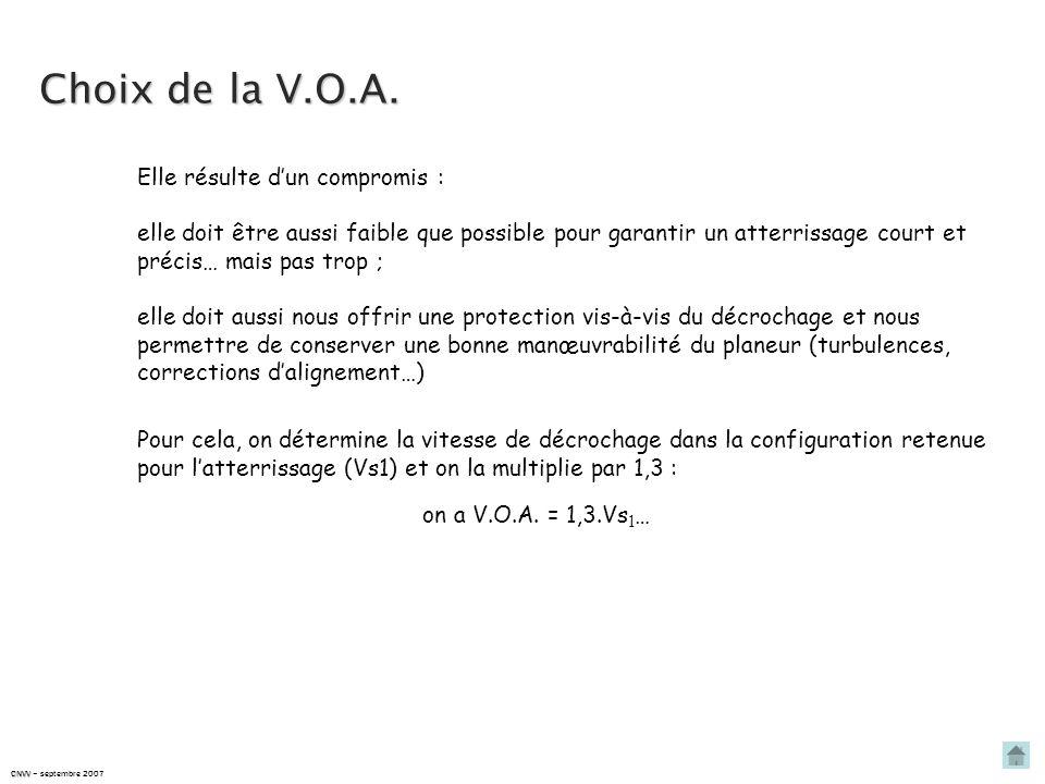 Choix de la V.O.A. Elle résulte d'un compromis :