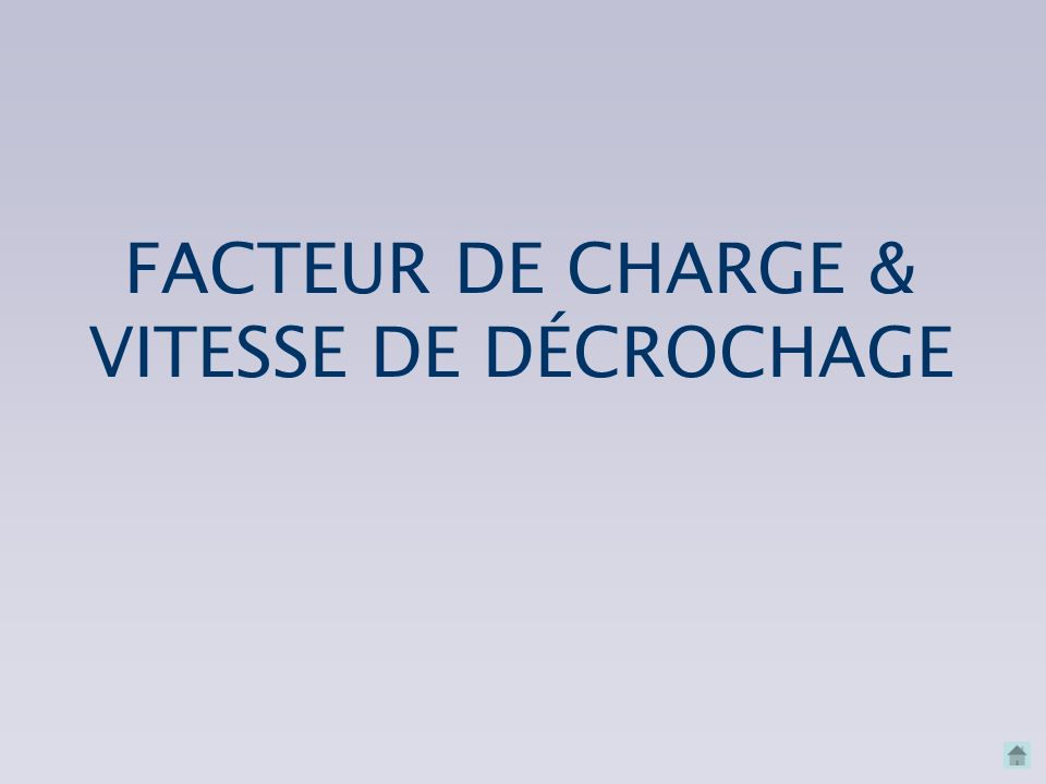 FACTEUR DE CHARGE & VITESSE DE DÉCROCHAGE