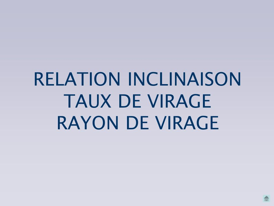 RELATION INCLINAISON TAUX DE VIRAGE RAYON DE VIRAGE