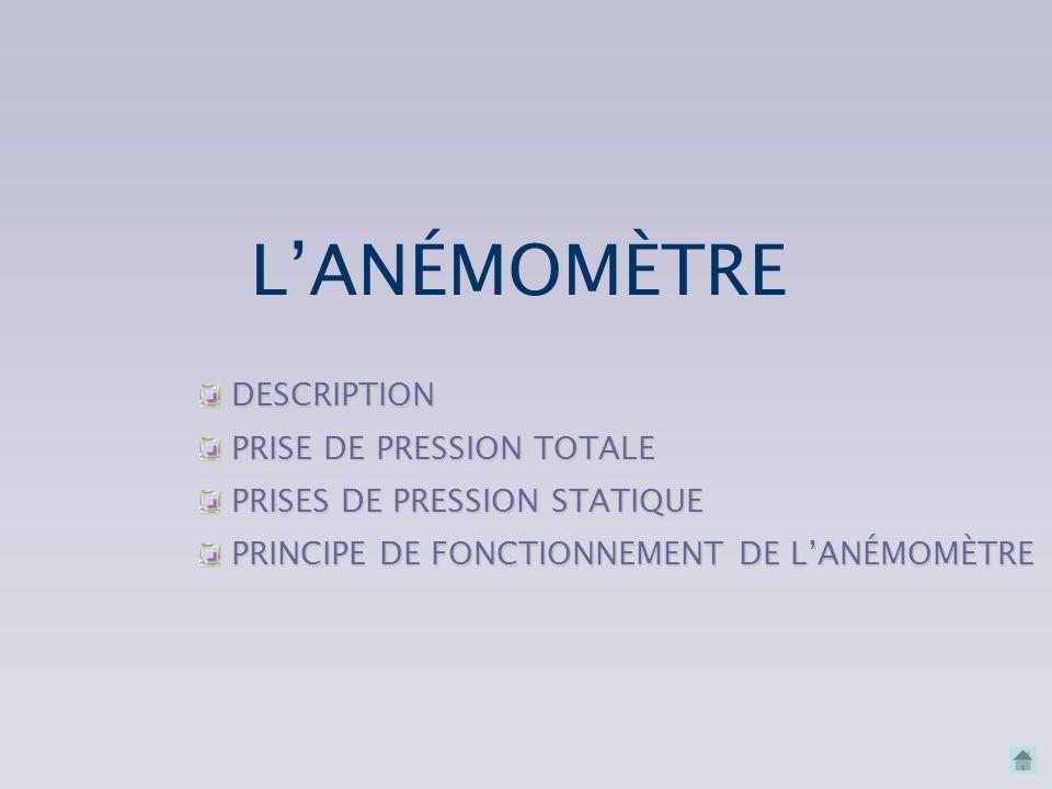 L'ANÉMOMÈTRE DESCRIPTION PRISE DE PRESSION TOTALE