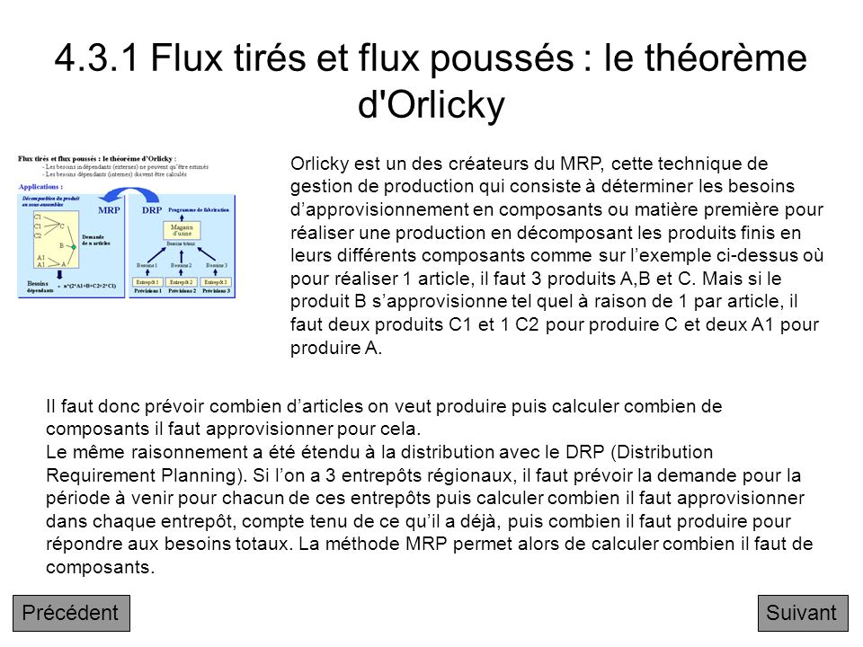 4.3.1 Flux tirés et flux poussés : le théorème d Orlicky
