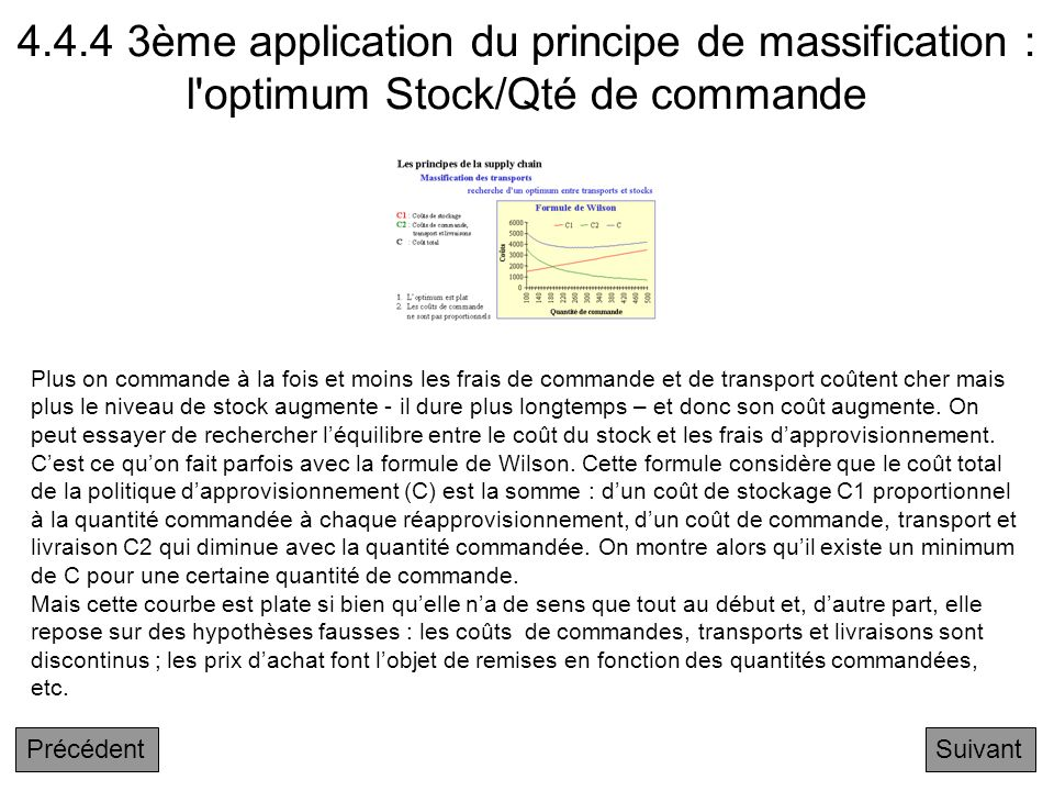 4.4.4 3ème application du principe de massification : l optimum Stock/Qté de commande