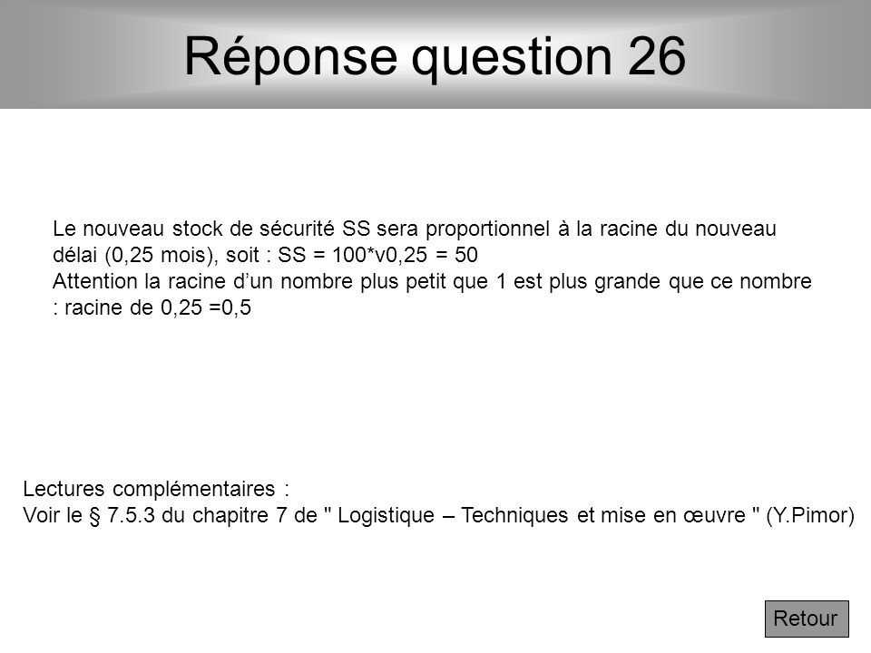 Réponse question 26