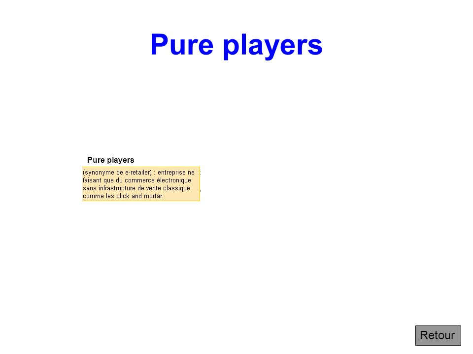 Pure players Pure players Retour