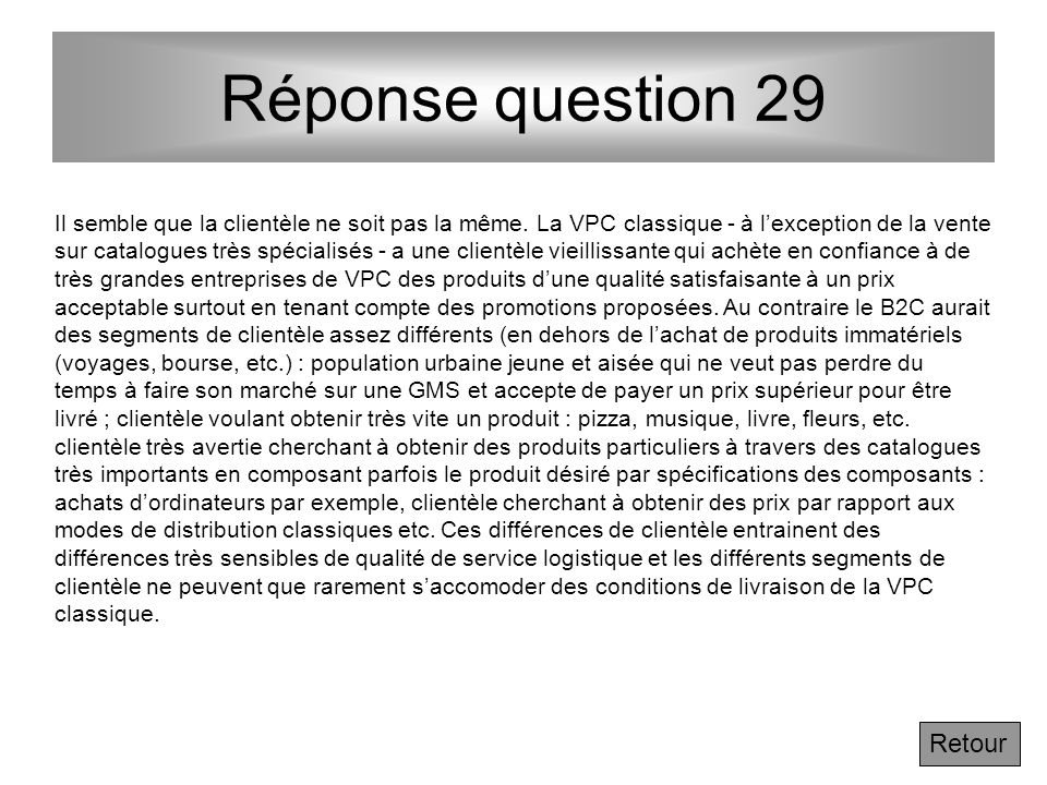 Réponse question 29 Retour
