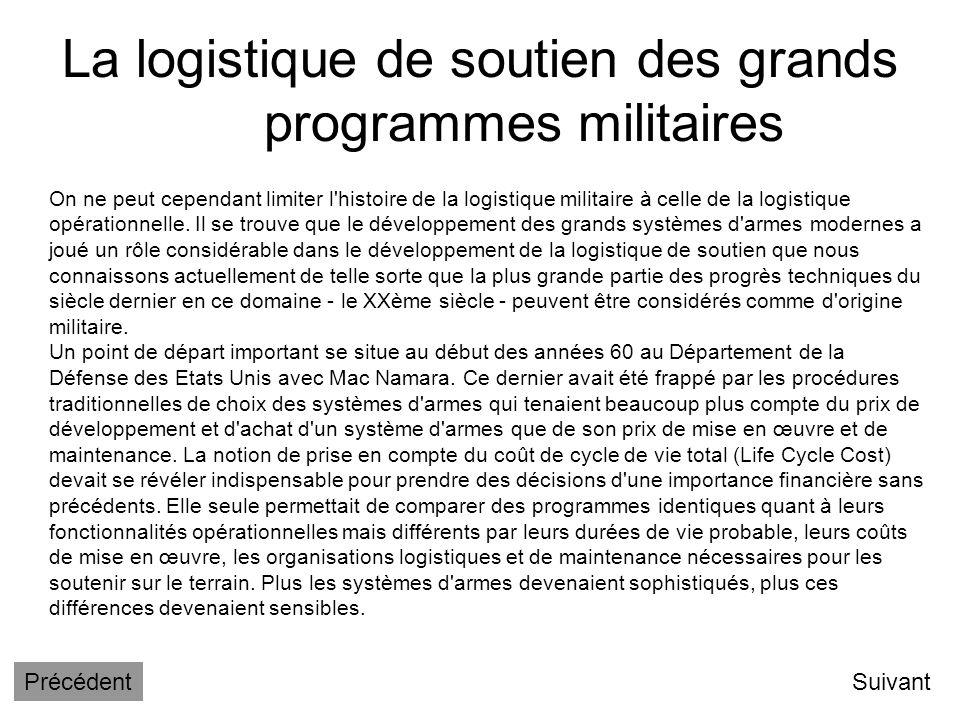La logistique de soutien des grands programmes militaires