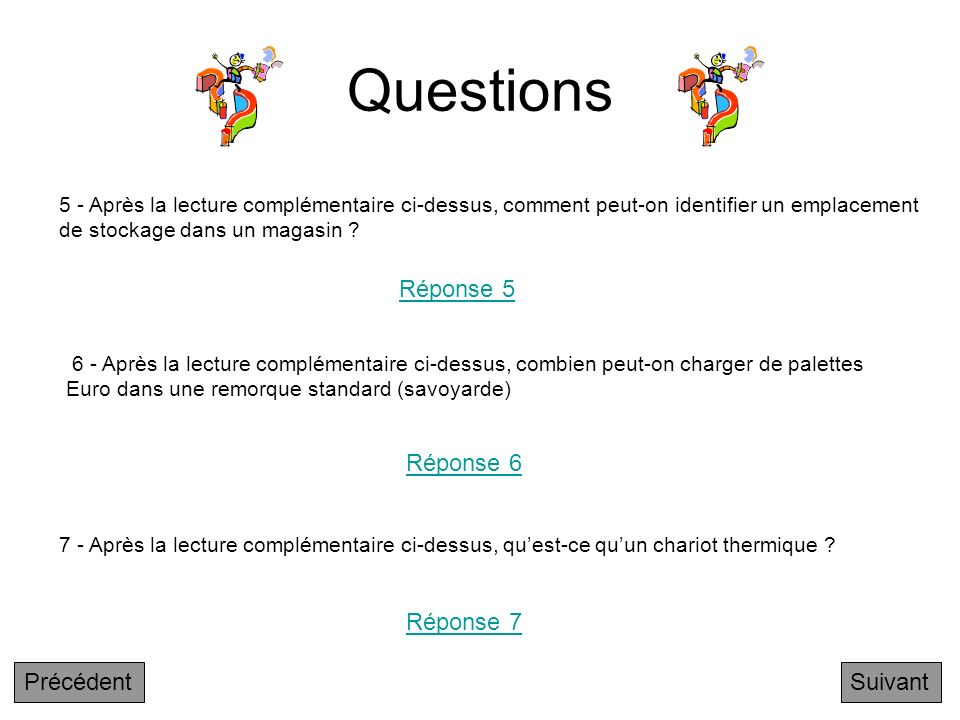 Questions Réponse 5 Réponse 6 Réponse 7 Précédent Suivant