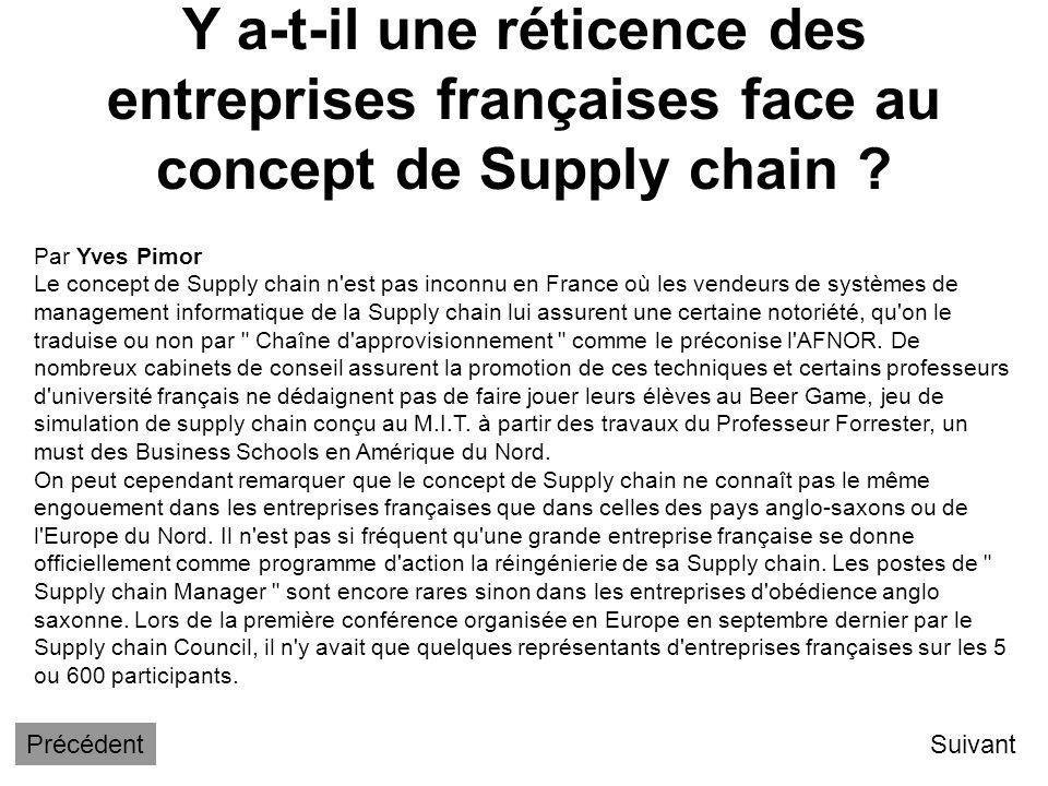Y a-t-il une réticence des entreprises françaises face au concept de Supply chain
