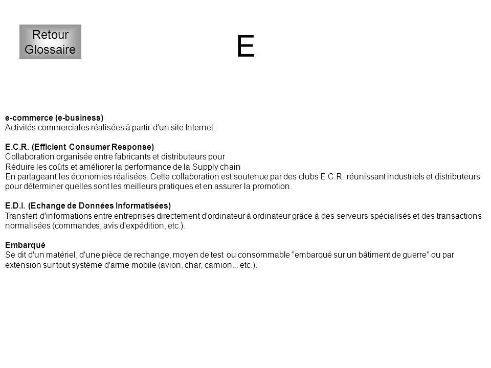 E Retour Glossaire e-commerce (e-business)
