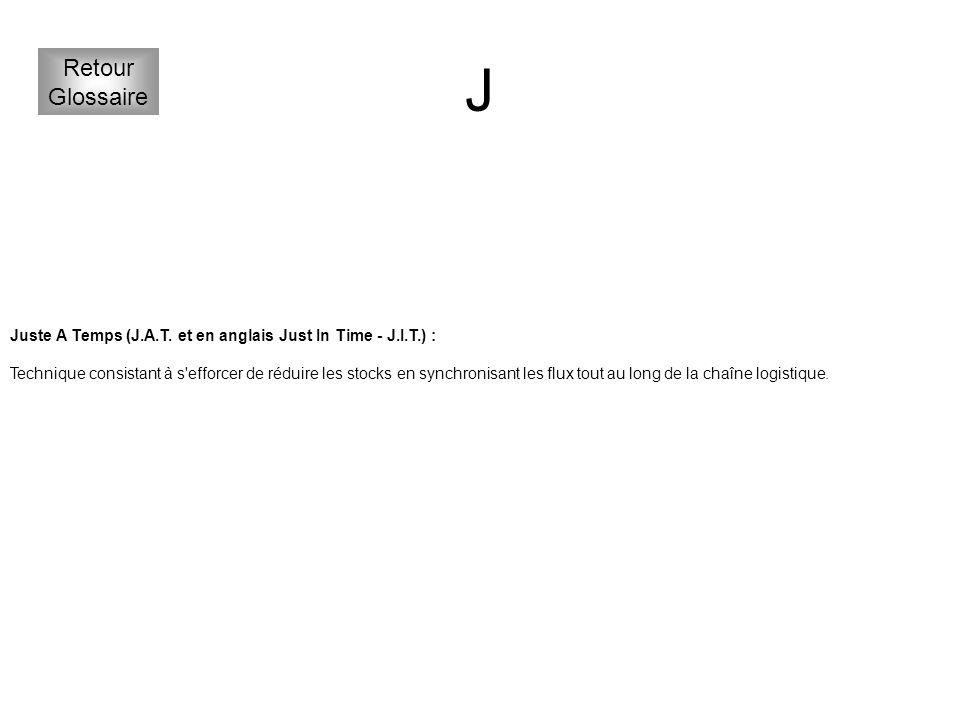 J Retour. Glossaire. Juste A Temps (J.A.T. et en anglais Just In Time - J.I.T.) :