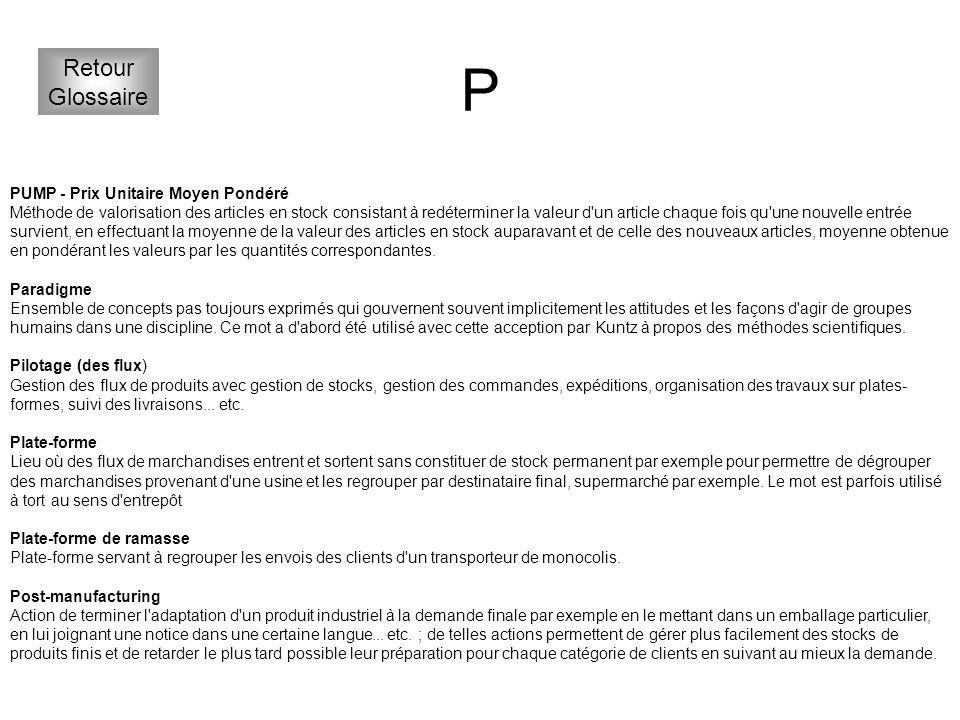 P Retour Glossaire PUMP - Prix Unitaire Moyen Pondéré