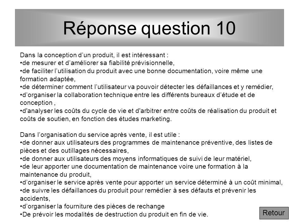 Réponse question 10 Retour