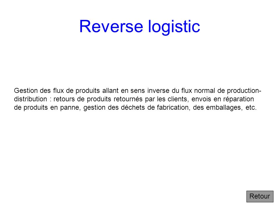 Reverse logistic