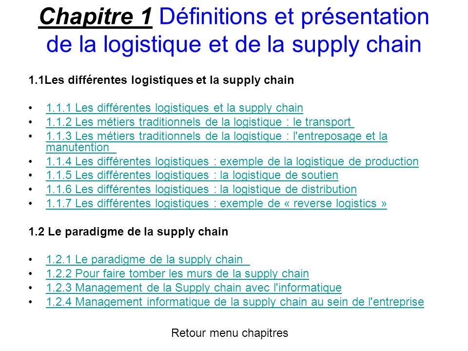 Chapitre 1 Définitions et présentation de la logistique et de la supply chain
