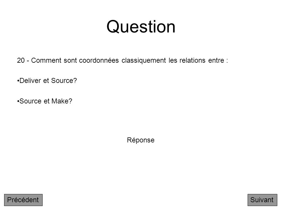 Question 20 - Comment sont coordonnées classiquement les relations entre : Deliver et Source Source et Make