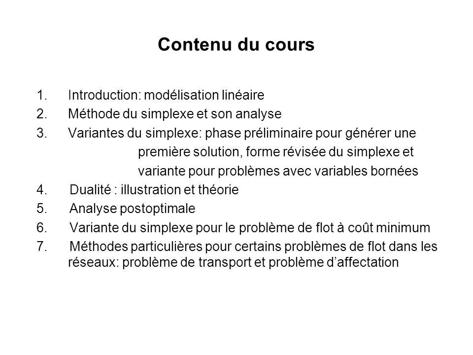 Contenu du cours Introduction: modélisation linéaire