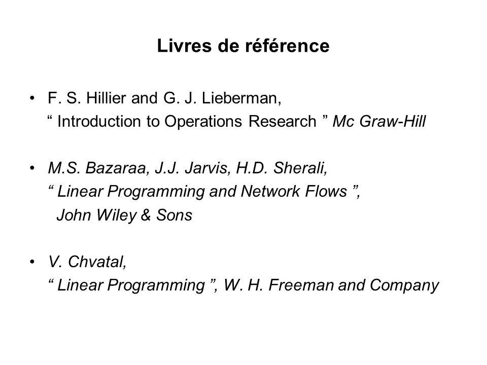Livres de référence F. S. Hillier and G. J. Lieberman,