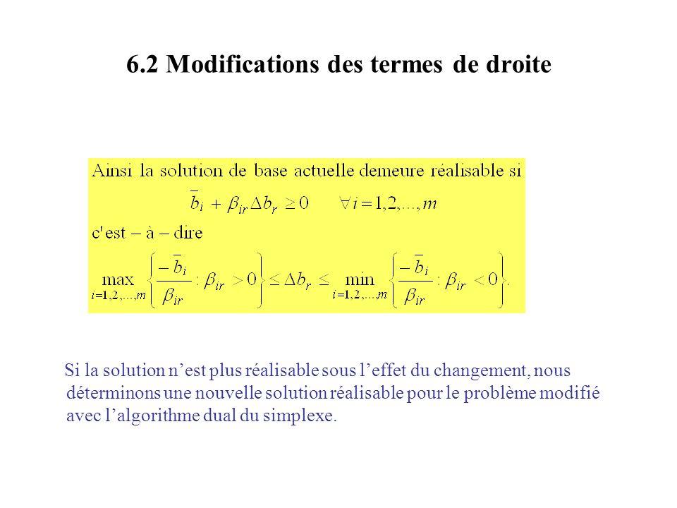 6.2 Modifications des termes de droite