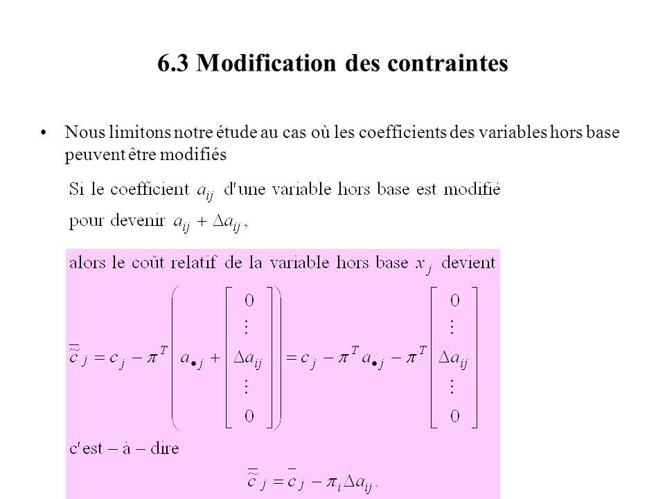 6.3 Modification des contraintes