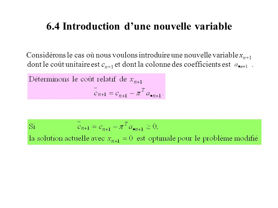 6.4 Introduction d'une nouvelle variable