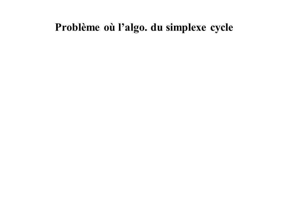 Problème où l'algo. du simplexe cycle