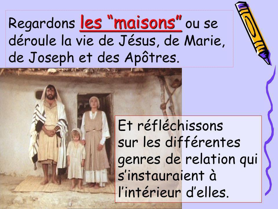 Regardons les maisons ou se déroule la vie de Jésus, de Marie, de Joseph et des Apôtres.