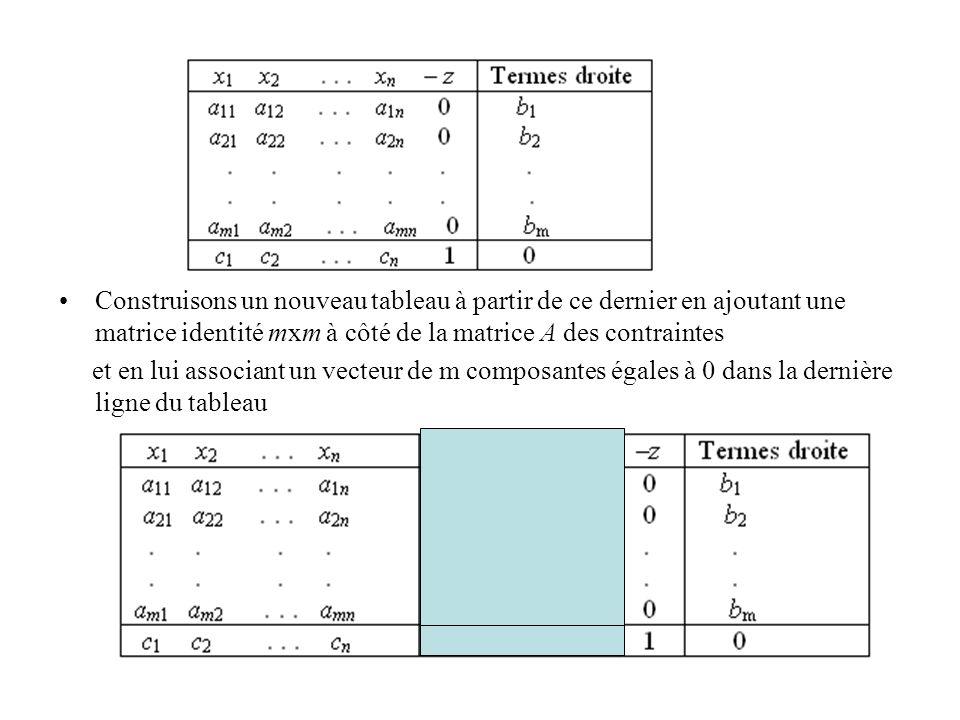 Construisons un nouveau tableau à partir de ce dernier en ajoutant une matrice identité mxm à côté de la matrice A des contraintes