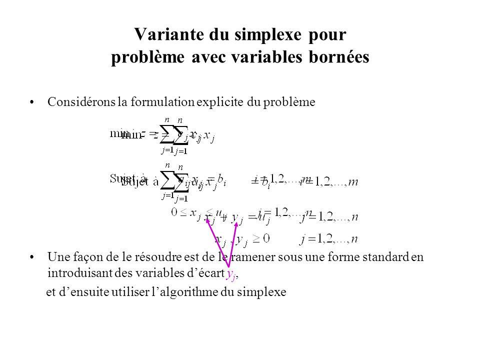 Variante du simplexe pour problème avec variables bornées