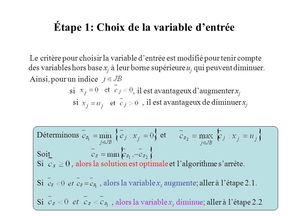 Étape 1: Choix de la variable d'entrée