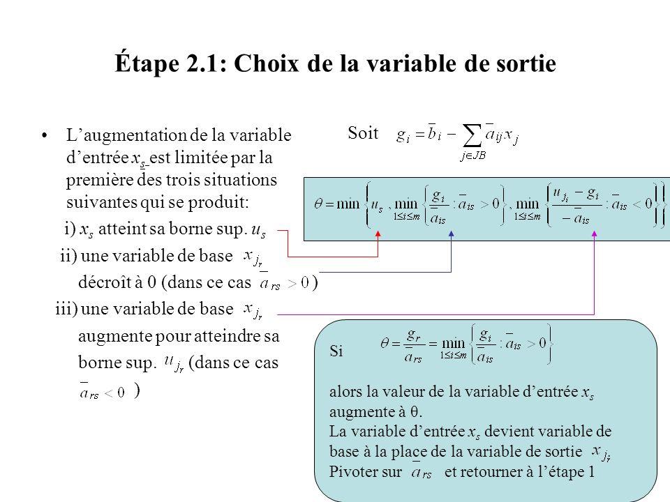 Étape 2.1: Choix de la variable de sortie