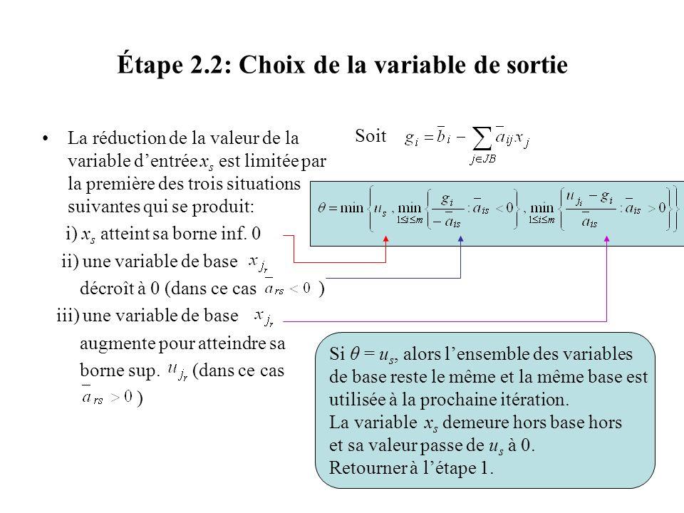 Étape 2.2: Choix de la variable de sortie