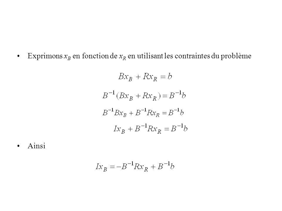 Exprimons xB en fonction de xR en utilisant les contraintes du problème