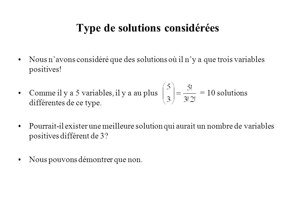 Type de solutions considérées