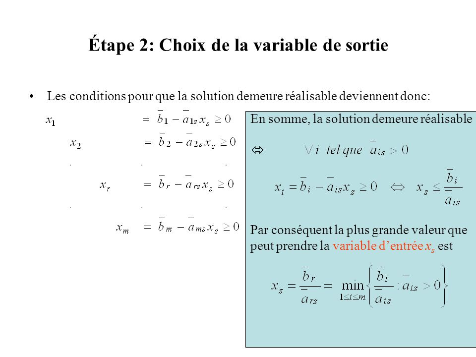 Étape 2: Choix de la variable de sortie