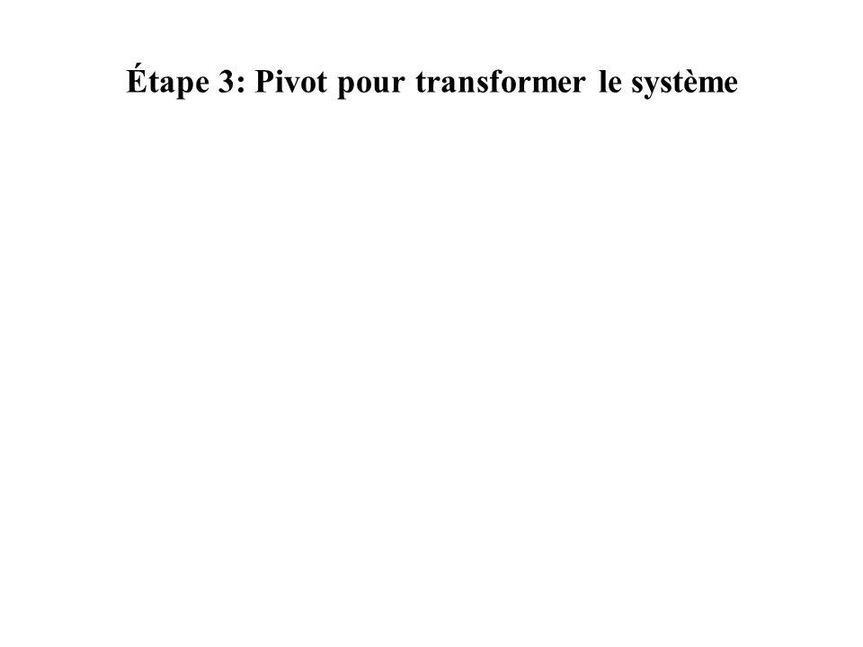 Étape 3: Pivot pour transformer le système
