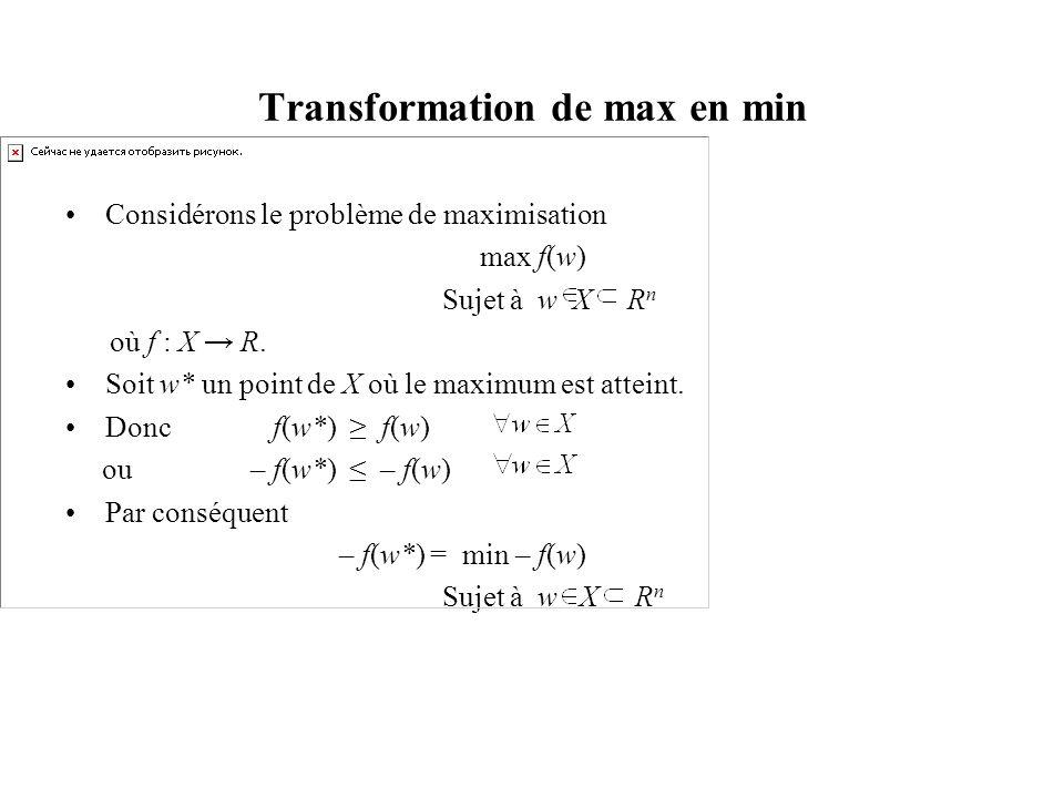 Transformation de max en min