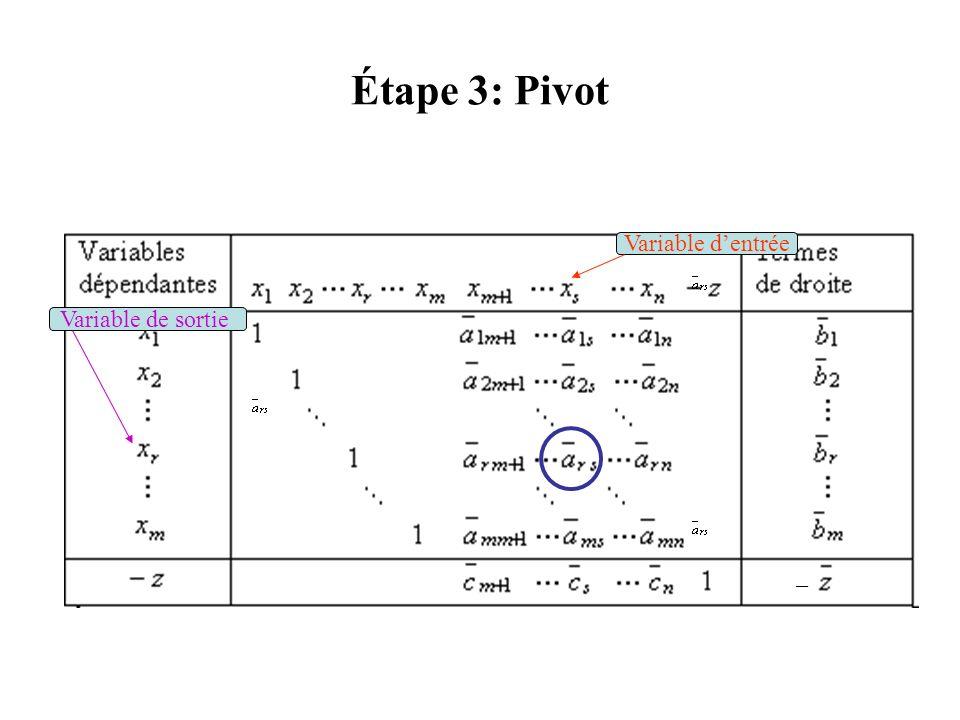 Étape 3: Pivot Variable d'entrée Variable de sortie –
