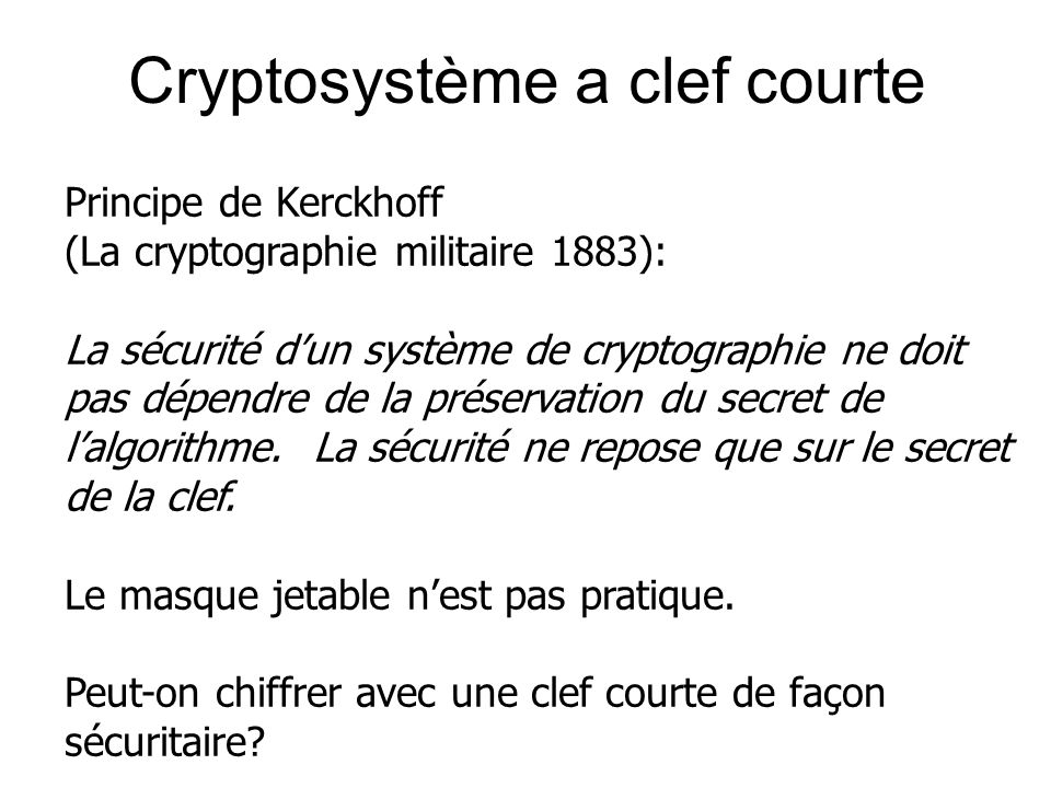 Cryptosystème a clef courte