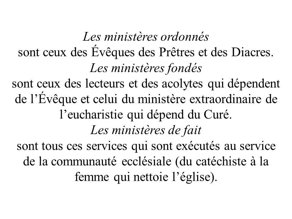 Les ministères ordonnés