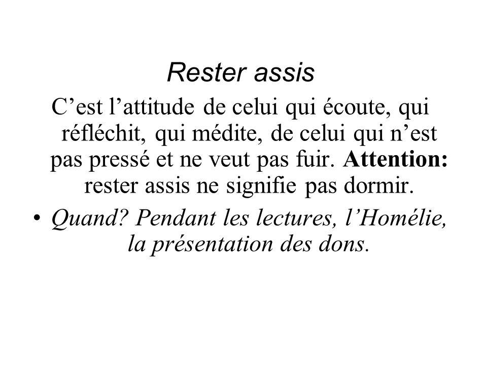 Quand Pendant les lectures, l'Homélie, la présentation des dons.