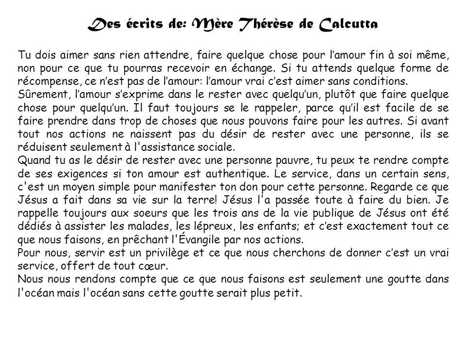 Des écrits de: Mère Thérèse de Calcutta