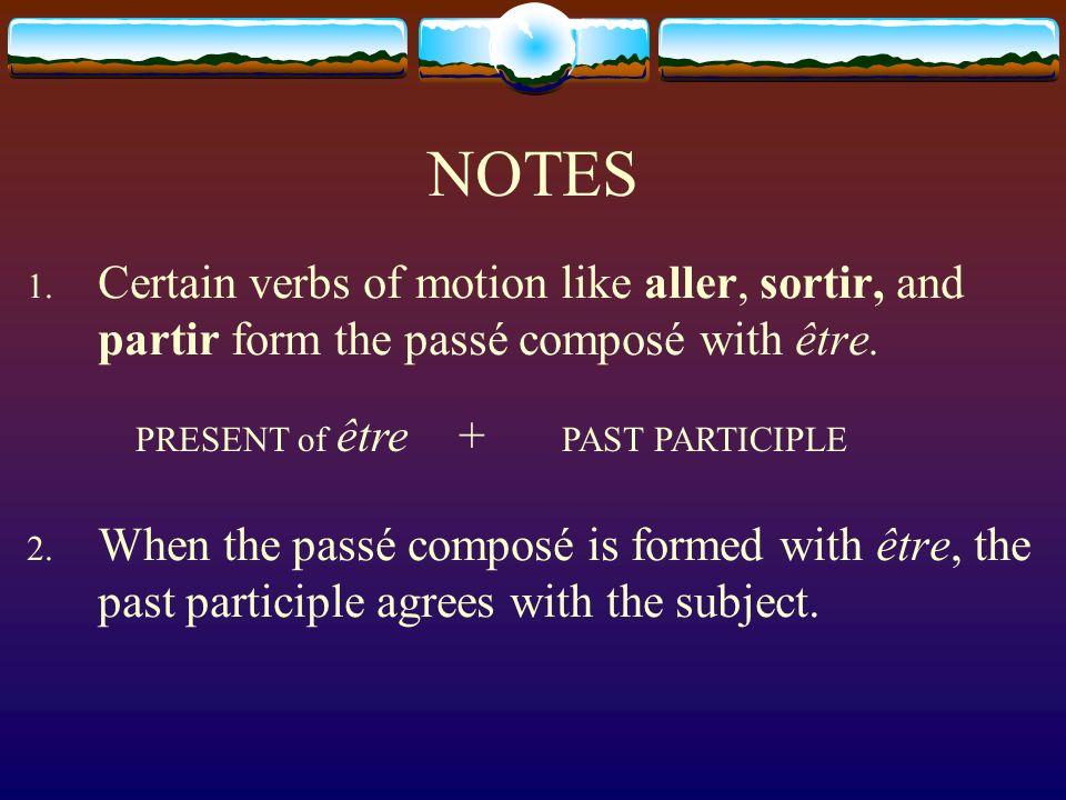 NOTESCertain verbs of motion like aller, sortir, and partir form the passé composé with être.