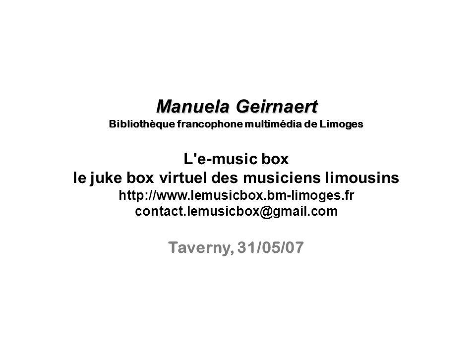 Manuela Geirnaert L e-music box