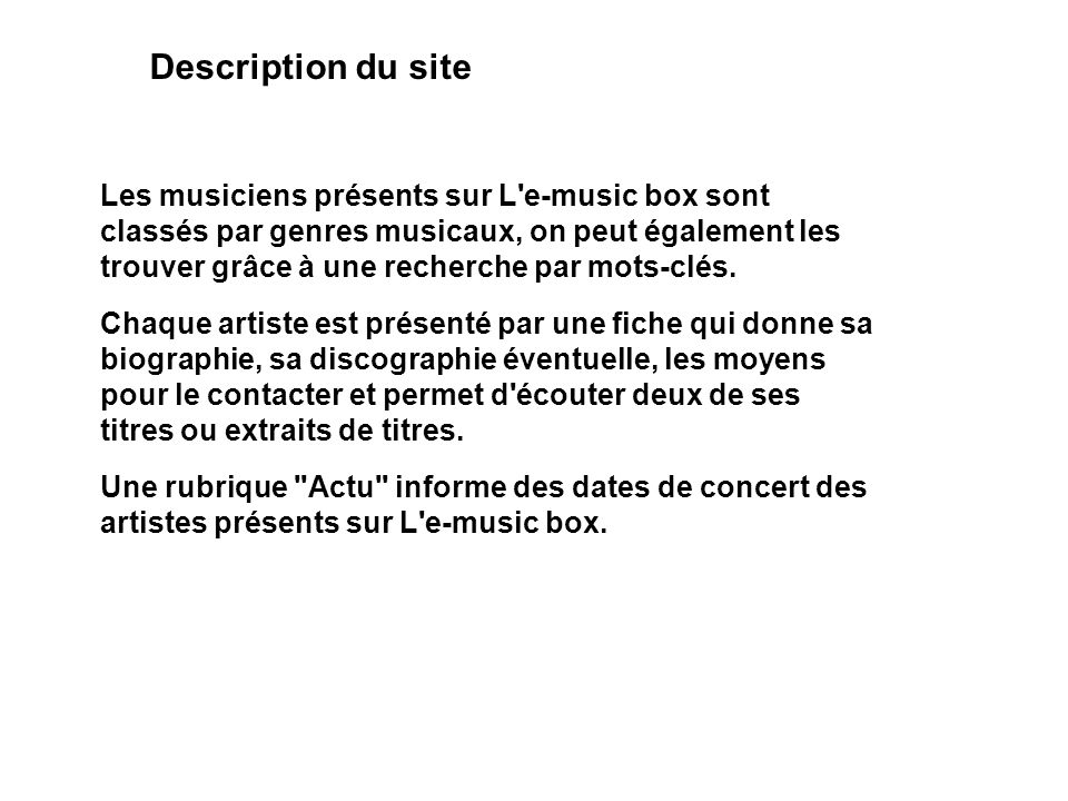 Description du site