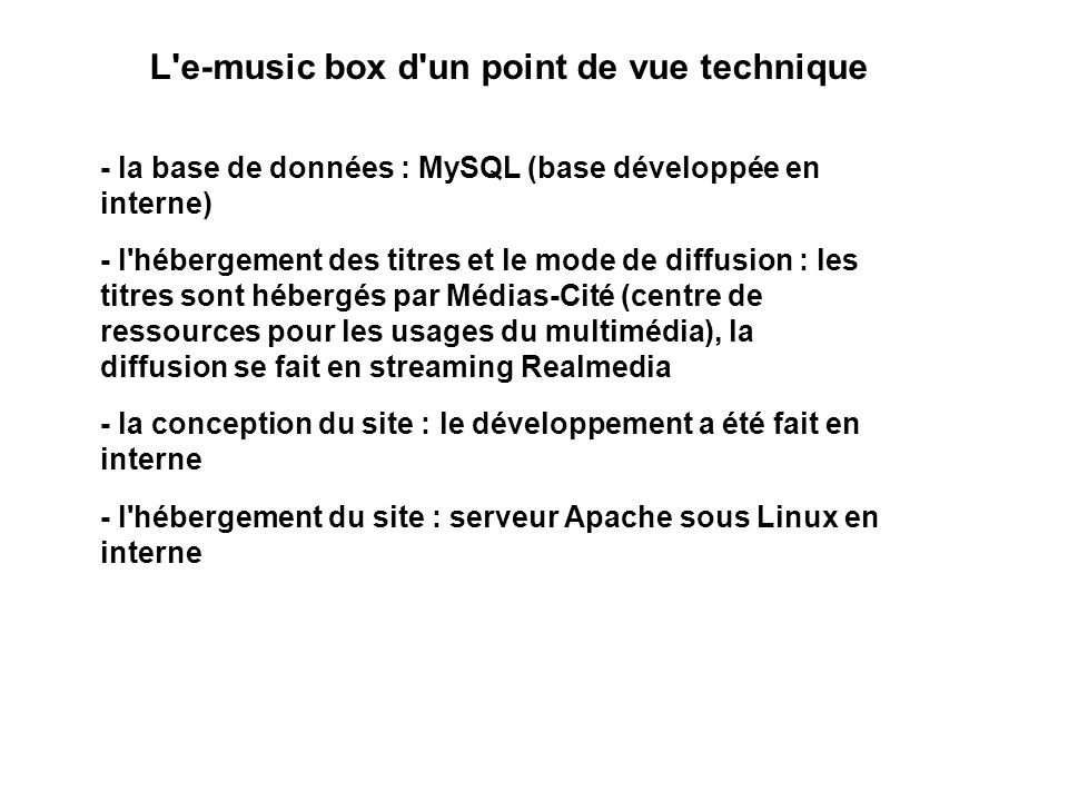 L e-music box d un point de vue technique