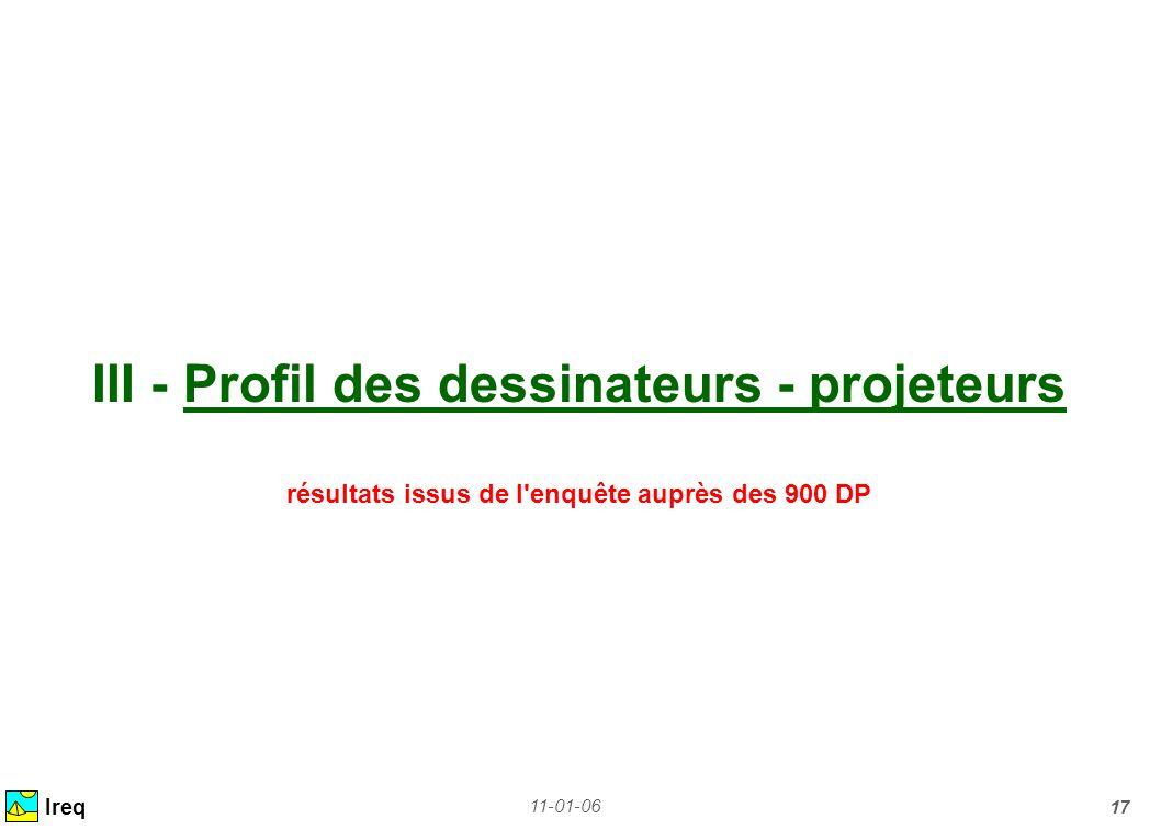 III - Profil des dessinateurs - projeteurs